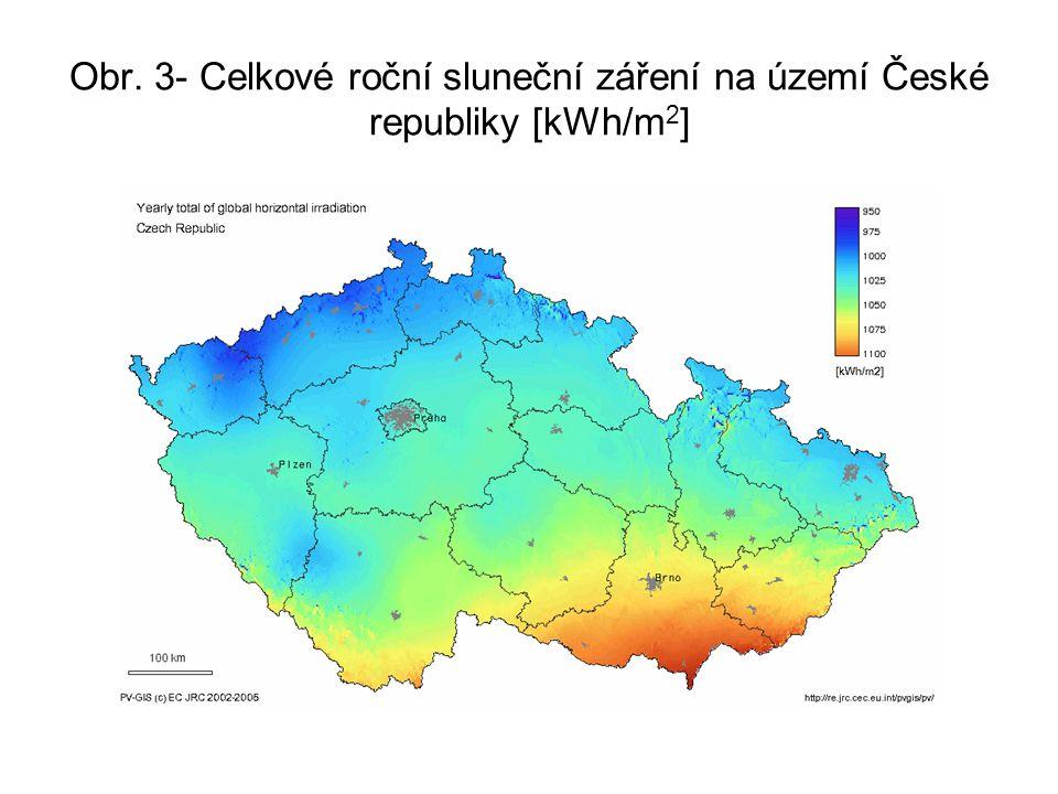 Obr. 3- Celkové roční sluneční záření na území České republiky [kWh/m2]